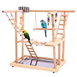 QBLEEV Bird Perches Play Stand Gym Parrot Playground Playgym Playpen Playstand Swing Bridge Wood Climb Ladders Wooden Conures Parakeet Macaw African Grey Activity Birdcage