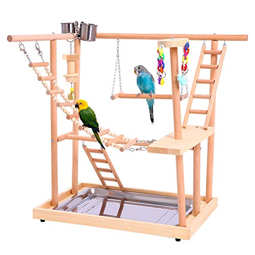 QBLEEV Wood Parrot Playground Perches with Swing,Chewing Climbing Toys, Bird Training Play Stands for Parakeets African Grey Conures Cockatiel Cockatoos to Exercise(18.7