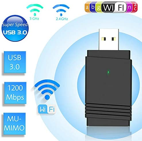 Hapshop 1200 Mbps USB 3.0 Wireless WiFi Adapter Dongle Dual Band Bluetooth 5.0 Built-in Dual Antenna