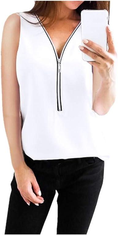 Camiseta sin Mangas con Cremallera para Mujer, Blusa y Camisa sin Mangas Casual Suelto Camiseta de Tirantes Camiseta Tallas Grandes Blanco 2XL: Amazon.es: Ropa y accesorios