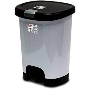 Hefty 7-Gal Textured Step-On Trash Can with Lid Lock and Bottom Cap, Stainless Steel