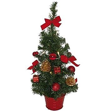 Weihnachtsbaum Fertig Dekoriert Kaufen.Matches21 Kleiner Weihnachtsbaum Mit Lichterkette Deko Tannenbaum 45 Cm Leds Warmweiß Beleuchtet Rot Geschmückt Fertig Dekoriert