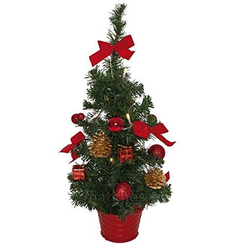 Kleiner Weihnachtsbaum Mit Beleuchtung.Matches21 Kleiner Weihnachtsbaum Mit Lichterkette Deko Tannenbaum 45 Cm Leds Warmweiss Beleuchtet Rot Geschmuckt Fertig Dekoriert