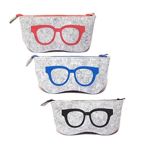 3 Pack Eyeglass Case Pouch, Polersun Portable Soft Felt Sunglasses Case Zipper Ultra Light Glasses Makeup Storage Pouch - Glasses Soft Case