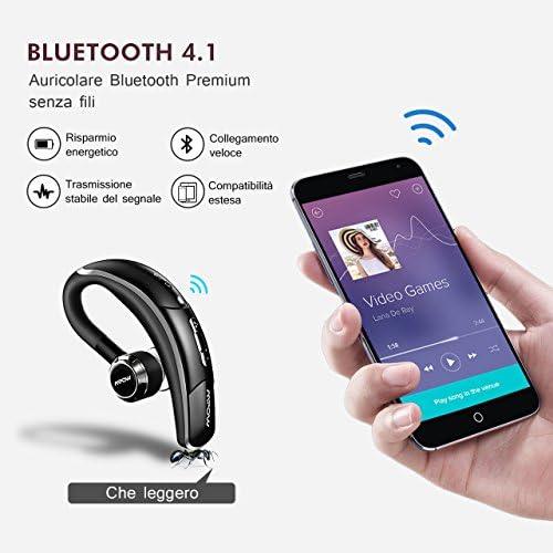 Mpow Auricolare Bluetooth 4.1 con cVc 6.0 Microfono Stereo, CSR Chip e Tecnologia di Catturare Voce Chiara, 4 Tasti per Facile Operazione, Cuffia