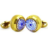 WSHYKJ Men's Cufflinks LED Glowing Cufflinks Gemstone Light Stylish Shirts Business Weddings Party Gift