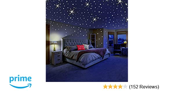 Amazon.com: Glow In The Dark Stars For Ceiling Or Wall Stickers   Glowing  Wall Decals Stickers Room Decor Kit   Galaxy Glow Star Set And Solar System  Decal ...