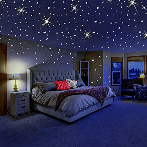Glow in The Dark Stars for Ceiling or Wall Stickers - Glowing Wall Decals Stickers Room Decor Kit - Galaxy Glow Star Set and Solar System Decal for Kids Bedroom Decoration -