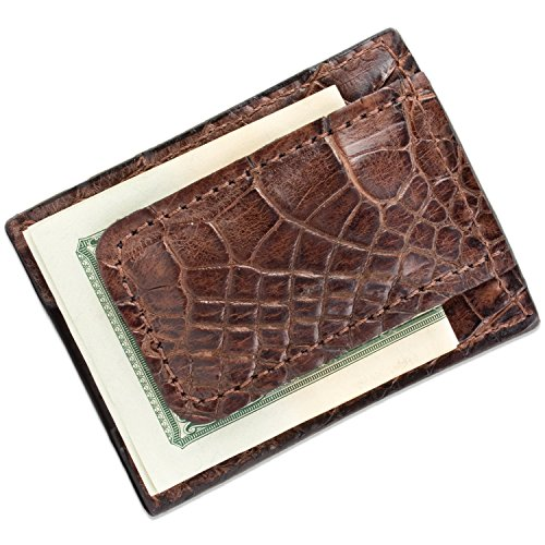 Brown Genuine Alligator Leather Magnetic Money Clip Wallet