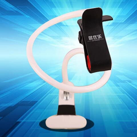 ANGELANGELA Universal 360 degree Rotation Long Arm Lazy Flexible Holder Cradle Stand For Smartphones Double Clip-White
