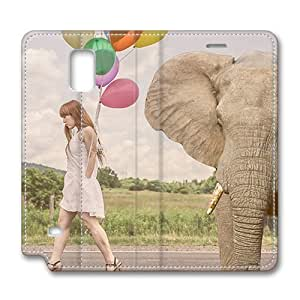 Brain114 Fashion Style Case Design Flip Folio PU Leather Cover Standup Cover Case with Elephant 5 Pattern Skin for Samsung Galaxy Note 4