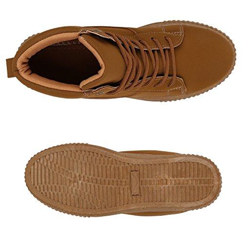 Damen Kinder Sneakers Warm Gefütterte Sneaker High Wildleder-Optik Winterschuhe Rutschfeste Profilsohle Schuhe Übergrößen Flandell Hellbraun Brito