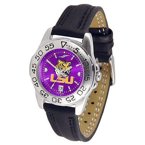 (NCAA LSU Tigers Ladies Anochrome Sport Watch with Leather Band)