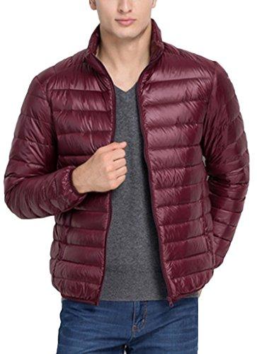 Pillow Collar Down Jacket (Sawadikaa Men's Winter Stand Collar Packable Ultra Light Pillow Down Puffer Jacket Coat Outdoor Jacket Wine Red X-Small)