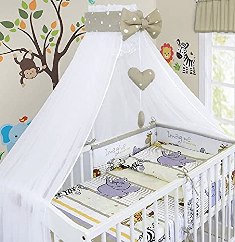 BABY CANOPY DRAPE MOSQUITO NET WITH HOLDER TO FIT COT /& COT BED SAFARI BLUE