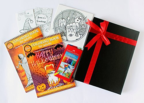 Adult Coloring Gift Set (Halloween) – 2 Coloring Books, Coloring Canvas, Greeting Cards and Color Pencils (12)