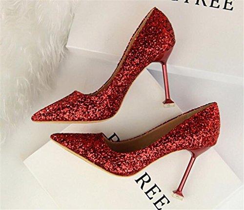 Pompes Hauts Femmes Stiletto A Toe De Sexy Moderne Rouge Talon Sandales EU39 Peep Chaussures Chanceux LUCKY CLOVER Mariage Court Talons Blink qYEYHwx