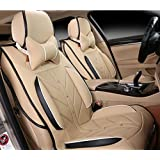 Amooca Compatible Universal Full Front Rear Ice Silk PU Fabric Car Seat Cushion Cover Fit For Subaru outback Volvo Audi A8 Toyota Crown BMW X3 X5 Infiniti 8pcs