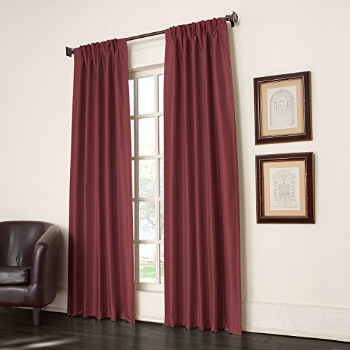 Sun Zero Antique Satin Energy Efficient Pinch Pleat Curtain Pair, 2 Panels, , 50 by 84 Inch, Cayenne
