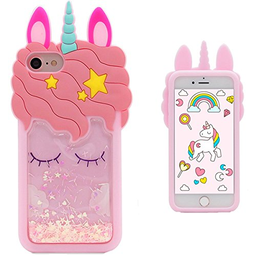 Quicksand Unicorn Case for iPhone 5 5S iPhone SE,Soft Cute Silicone 3D Cartoon Animal Cover, Mulafnxal Shockproof Cases,Kids Girls Bling Glitter Rubber Kawaii Character Fashion Protector for iPhone 5C