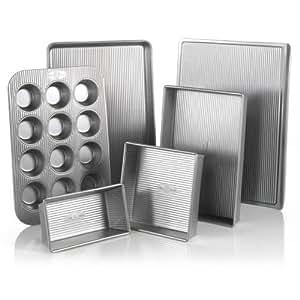 USA Pan Bakeware Aluminized Steel 6 Pieces Set, Cookie Sheet, Half Sheet, Loaf Pan, Rectangular Pan, Square Cake Pan, 12 Cup Muffin Pan