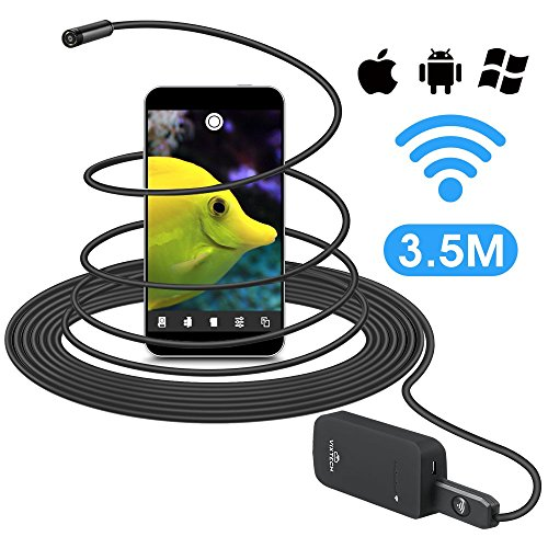 Wireless Borescope 11.4ft, VIXTECH Wi-Fi Inspection Camera Endoscope,Up to 2 Hours of Life Time, 2.0 Megapixels HD Snake Camera, 6 Adjustable LEDs, Supports Multiple Devices at Once, for iOS/Android