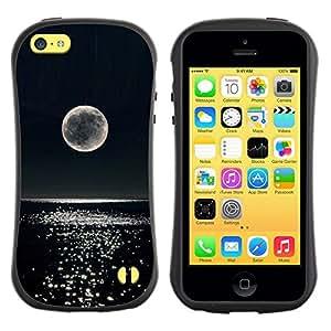 """Hypernova Slim Fit Dual Barniz Protector Caso Case Funda Para Apple iPhone 5C [Luna de la noche del brillo del agua del océano""""]"""