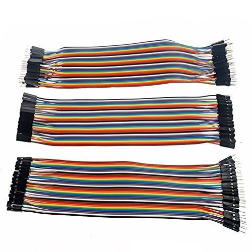 Honbay 120pcs Multicolored 40pin Male to Female, 40pin Male to Male, 40pin Female to Female Breadboard Jumper Wires Ribbon Cables Kit