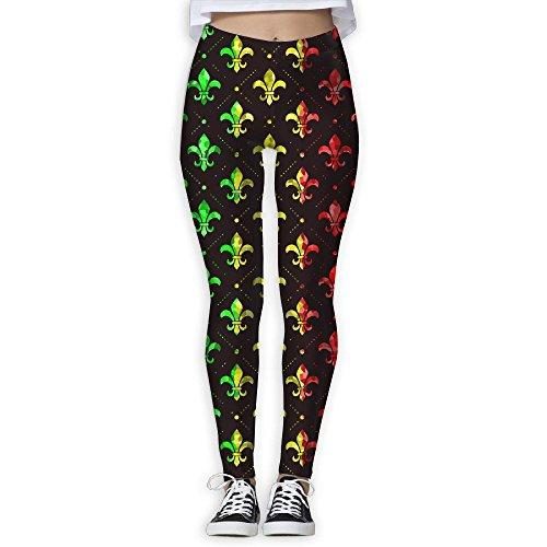 Red Petite Fleur De Lis (Rasta Reggea Fleur De Lis Women's Stretchable Sports Running Yoga Workout Leggings Pants XL)