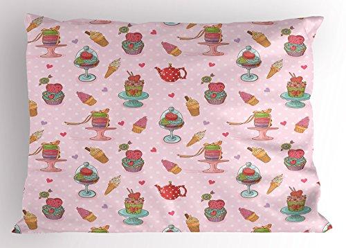 Ambesonne Ice Cream Decor Pillow Sham, Retro Cupcakes Teapot