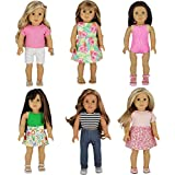 PZAS Toys 6 Outfit Set, Compatible with American Girl Doll Clothes and Other 18 Inch Doll Clothes