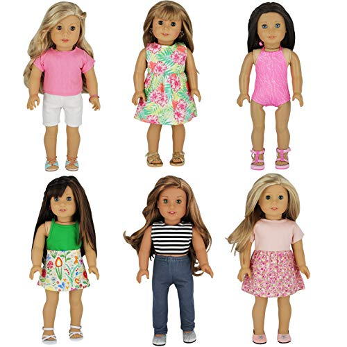 (PZAS Toys 6 Outfit Set, Compatible with All 18 Inch Dolls)