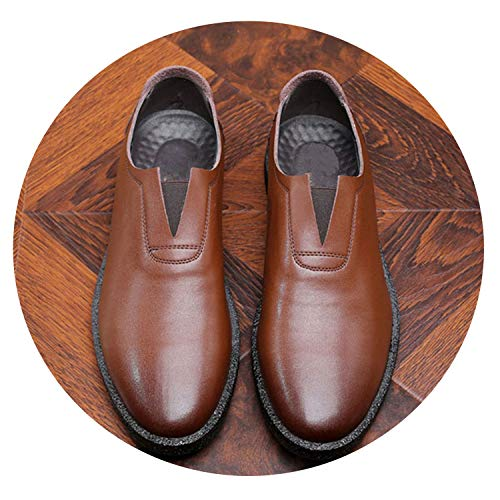 New Oxford Man Dress Shoes Genuine Leather Wedding Shoes Breathable Men Formal Office Shoes,Slip on Brown,7