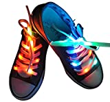 Lystaii LED Light Waterproof Shoelaces Shoestring Battery Powered Flash Lighting The Night for Party Hip-hop Dancing Skating Running Cosplay Decoration Running (RGB Colorful)
