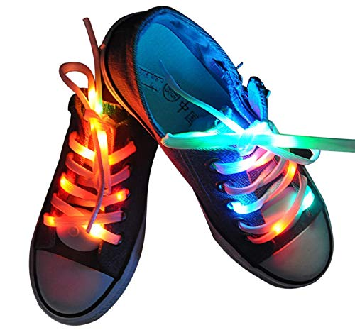 Lystaii LED Light Waterproof Shoelaces Shoestring Battery Powered Flash Lighting The Night for Party Hip-hop Dancing Skating Running Cosplay Decoration Running (RGB Colorful) (Bruck Lighting Jas Led)