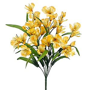 "21"" Silk Alstroemeria Flower Bush -Yellow (Pack of 12) 120"