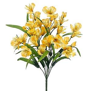 "21"" Silk Alstroemeria Flower Bush -Yellow (Pack of 12) 18"