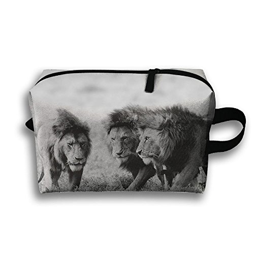 With Wristlet Cosmetic Bags Wild Nature Grayscale Lions Brush Pouch Portable Makeup Bag Zipper Wallet Hangbag Carry Case -