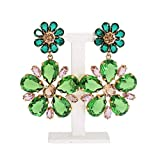 Dolce & Gabbana - Gold Brass Green Floral Crystal Clip On Earrings
