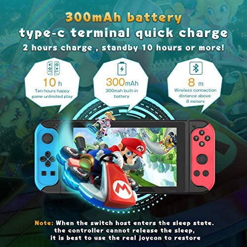 TopACE Replacement for Nintendo Switch Joy-Con Controller, Switch Remote Joypad Built-in Data for 12 Games with Turbo, Motion Control & Dual Shock (Blue/Red)
