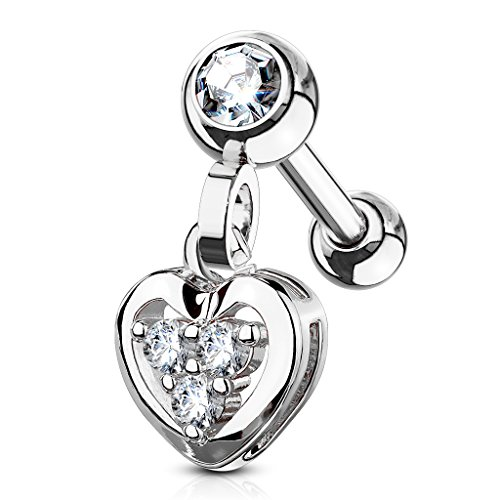 MoBody 16G Clear CZ Jeweled Dangle Heart Tragus Earring Surgical Steel Cartilage Helix Piercing Stud - Helix Dangle