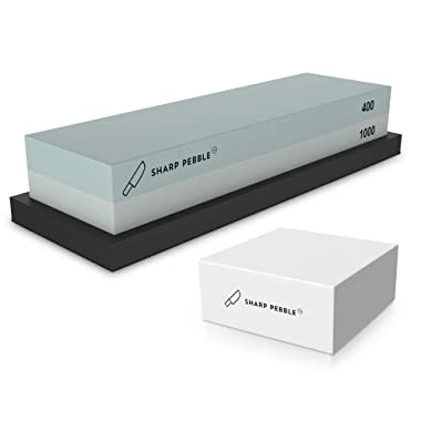 Sharp Pebble Premium Whetstone Sharpening Stone 2 Side Grit 400/1000 | Knife Sharpener Waterstone with NonSlip Rubber Base & Flattening Stone