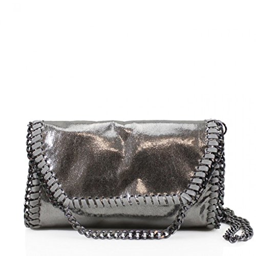 Bags Women's For Faux Chain 932 2 Body Bags Cross LeahWard Leather Women Trim SILVER Handbags CW932 Party D C4Hqtxt