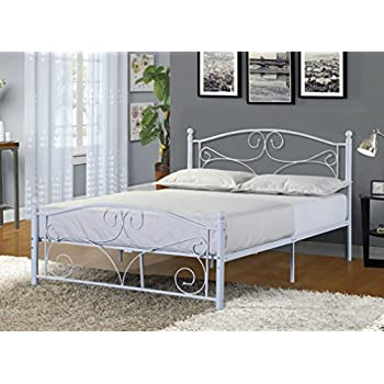 Merax Stylish Design Solid Metal Platform Bed Frame with Headboard and  Footboard White  Full. Amazon com  DHP Bombay Metal Bed Frame  Vintage Design and