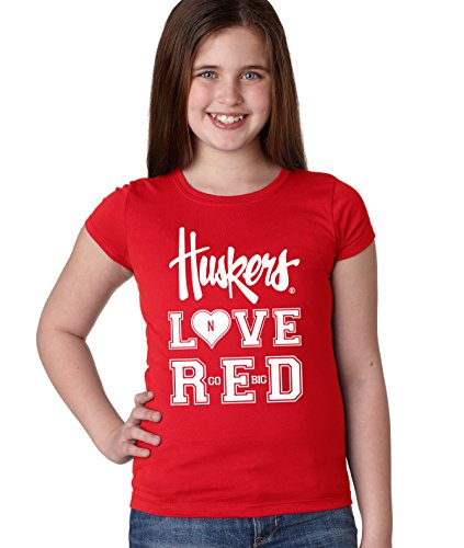 CornBorn Nebraska Huskers LOVE RED Youth Girls Tee Shirt - R