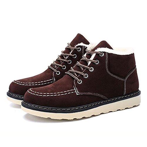 Men's Shoes Feifei Winter Keep Warm High Help Cotton Shoes 3 Colors (Color : Brown, Size : EU42/UK8.5/CN43)