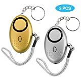 Personal Alarm, 140DB Self-Defense Electronic Device Security Alarm Emergency Keychain with LED Light for Men Women Kids Students (silver&gold)