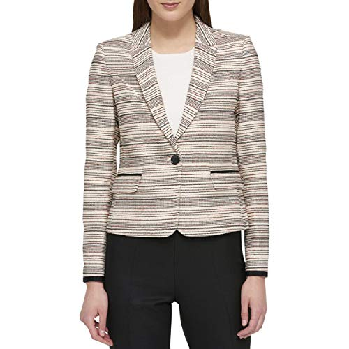 Tommy Hilfiger Womens Contrast Trim Colorblock One-Button Blazer Beige 8