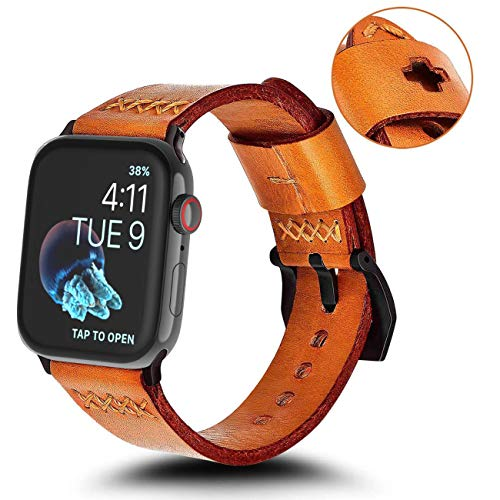 KADES Replacement Band Compatible for Apple Watch Series 4 44mm & Series 3/2/1 42mm [Retro Top Grain Genuine Leather]- Russet Orange Band + Black Hardware