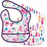 Bumkins Starter Bib, Baby Bib Infant, Waterproof, Washable, Stain and Odor Resistant, 3-9 Months, 2-Pack – Watercolors & Brushstrokes